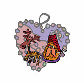 Clipart cartoon style in a stylized deer and toy Santa Claus on the background of a decorative openwork decoration on the tree in the shape of a heart.