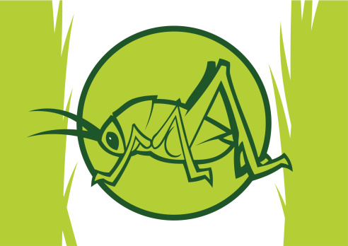 Clipart light green katydid inside a circle with grass