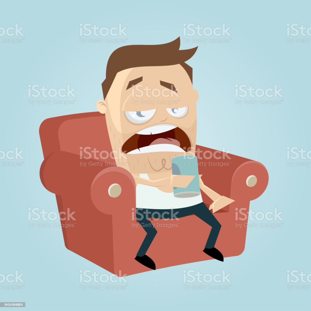 clipart of a bored man sitting on the sofa and drinking beer of a can vector art illustration