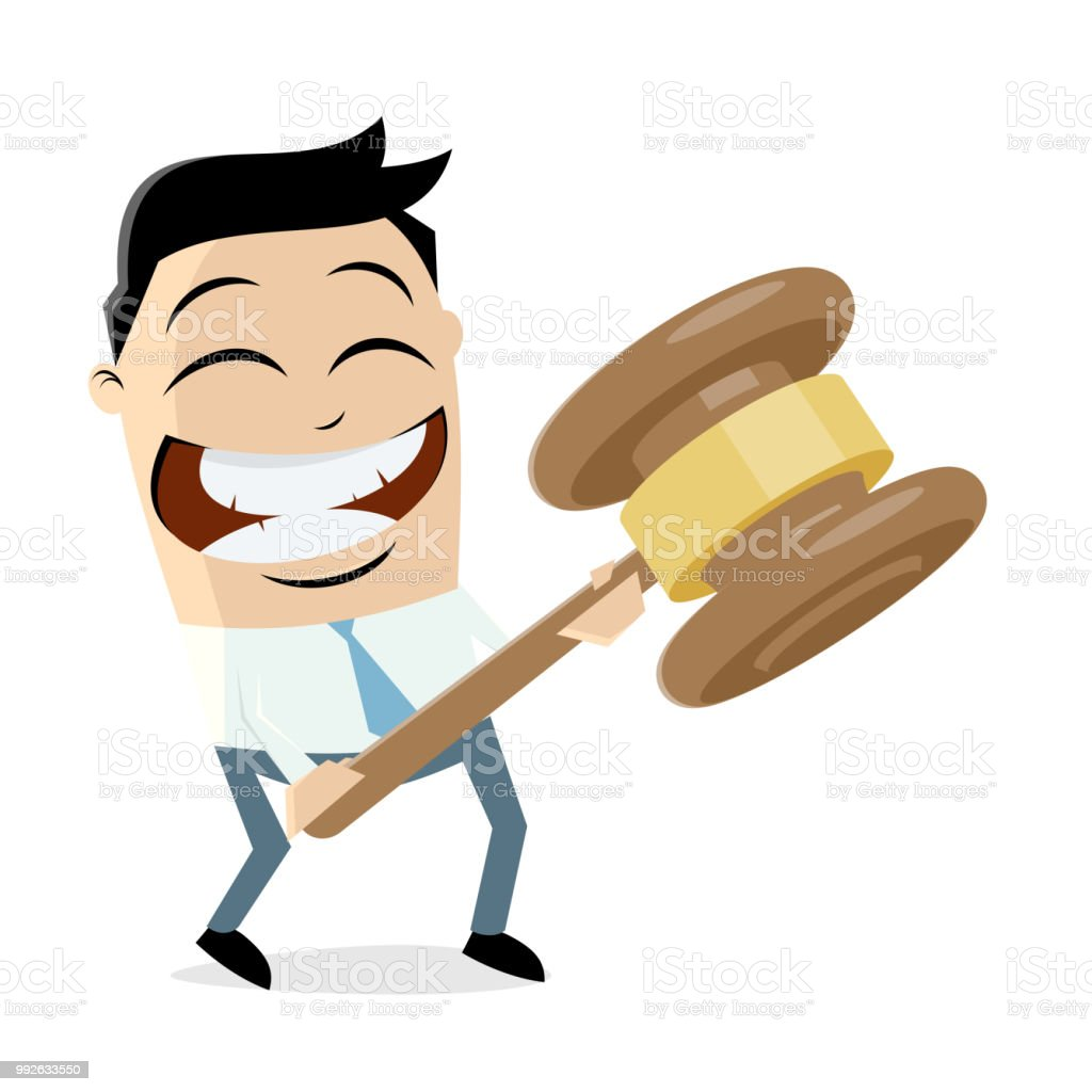 clipart of a businessman with gavel vector art illustration