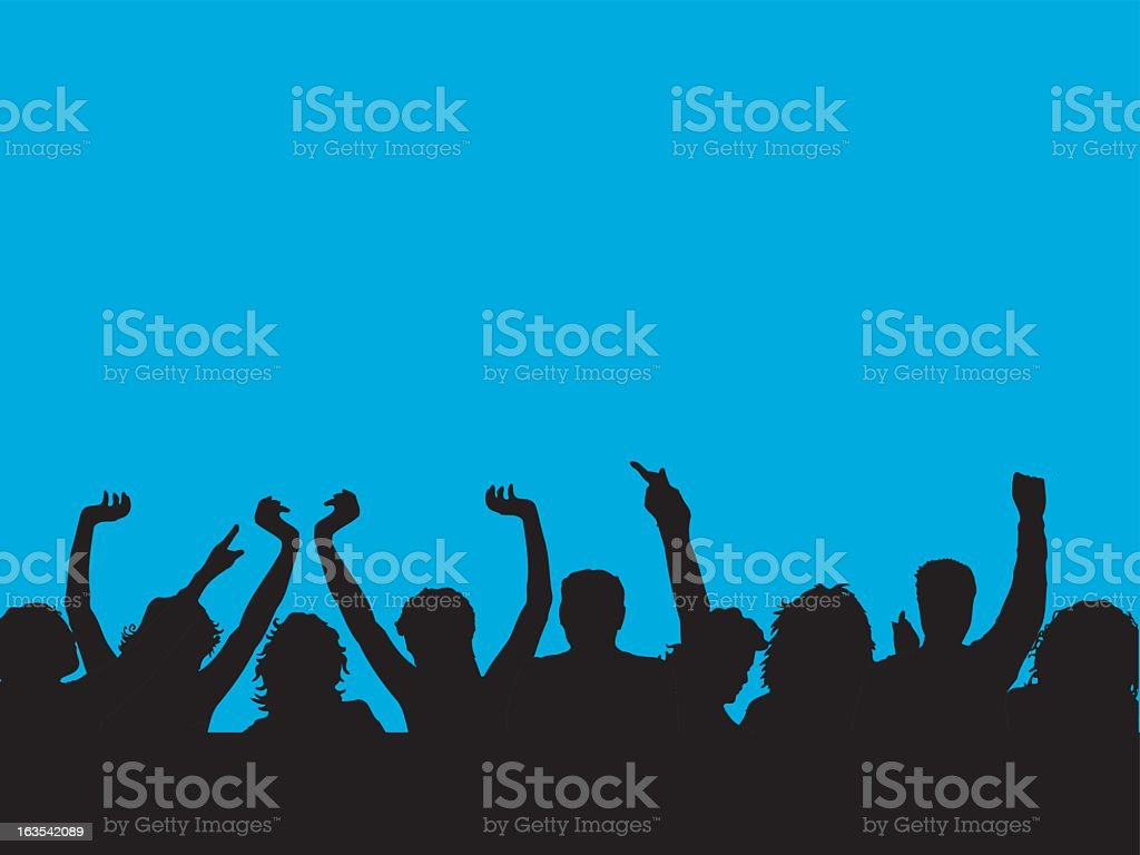 Clipart of an audience with arms raised royalty-free stock vector art
