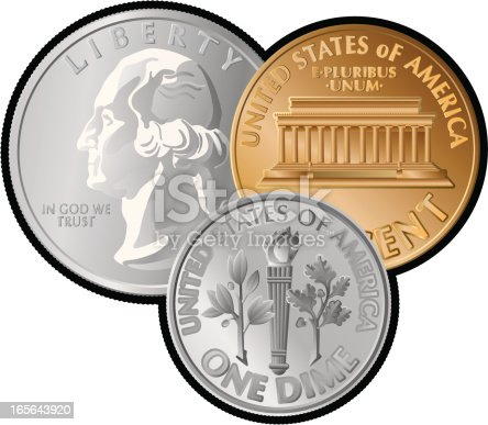 Three US coins using simple gradients only – no gradient mesh.