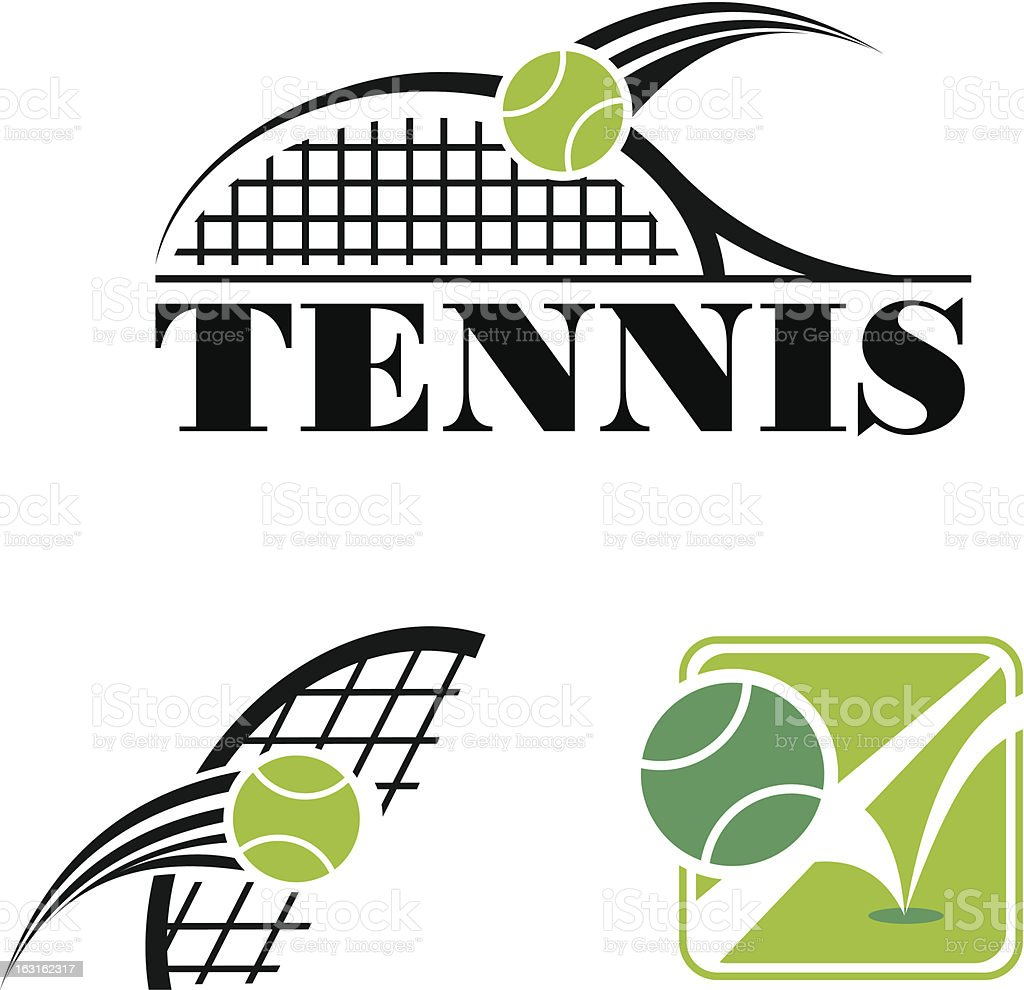 Clipart of tennis symbols in black and green vector art illustration