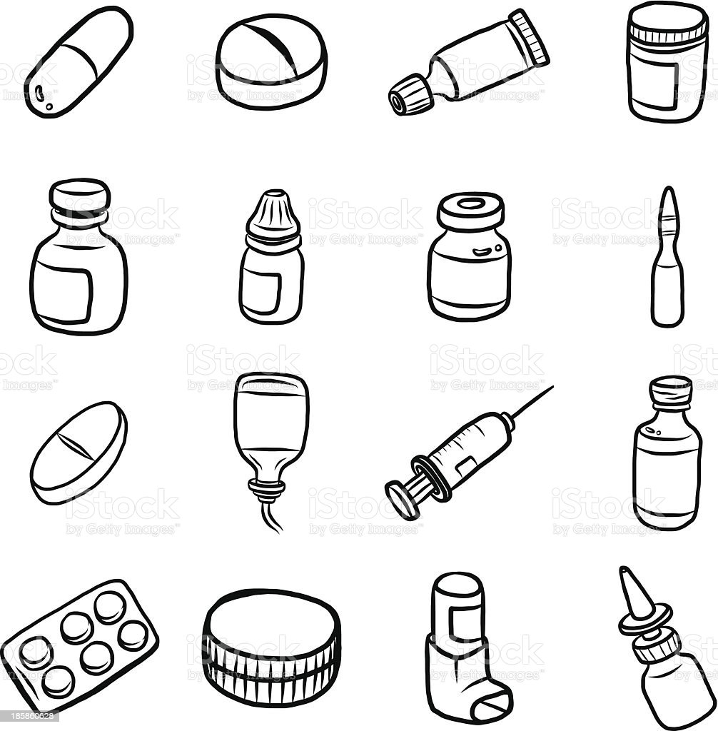 Clipart set of medicine related items vector art illustration