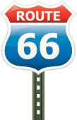 A Clipart Version of an Interstate Route 66 Road Sign