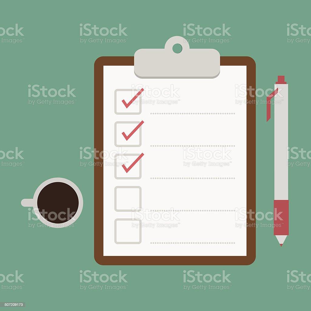 clipboard and checklist vector art illustration