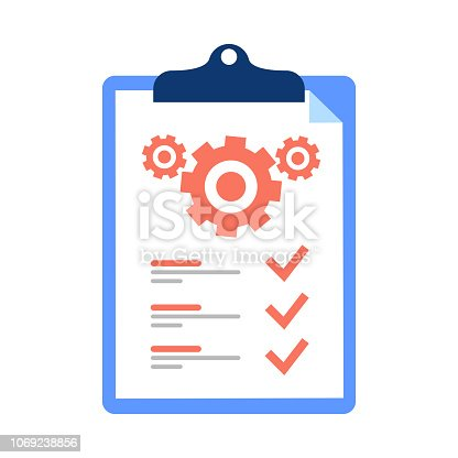 Clipboard and cogwheel, technical support check list, team work solution, project management, software upgrade. Testing services vector icon, flat design illustration. technical terms and conditions