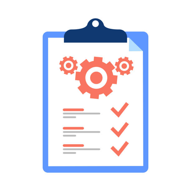 Clipboard and cogwheel, technical support check list, team work solution, project management, software upgrade. Testing Clipboard and cogwheel, technical support check list, team work solution, project management, software upgrade. Testing services vector icon, flat design illustration. technical terms and conditions order stock illustrations