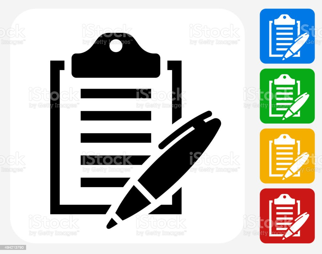 Clipboard and Pen Icon Flat Graphic Design vector art illustration