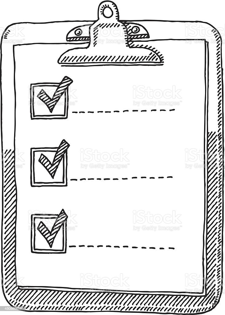 Clipboard Check List Tick Drawing vector art illustration