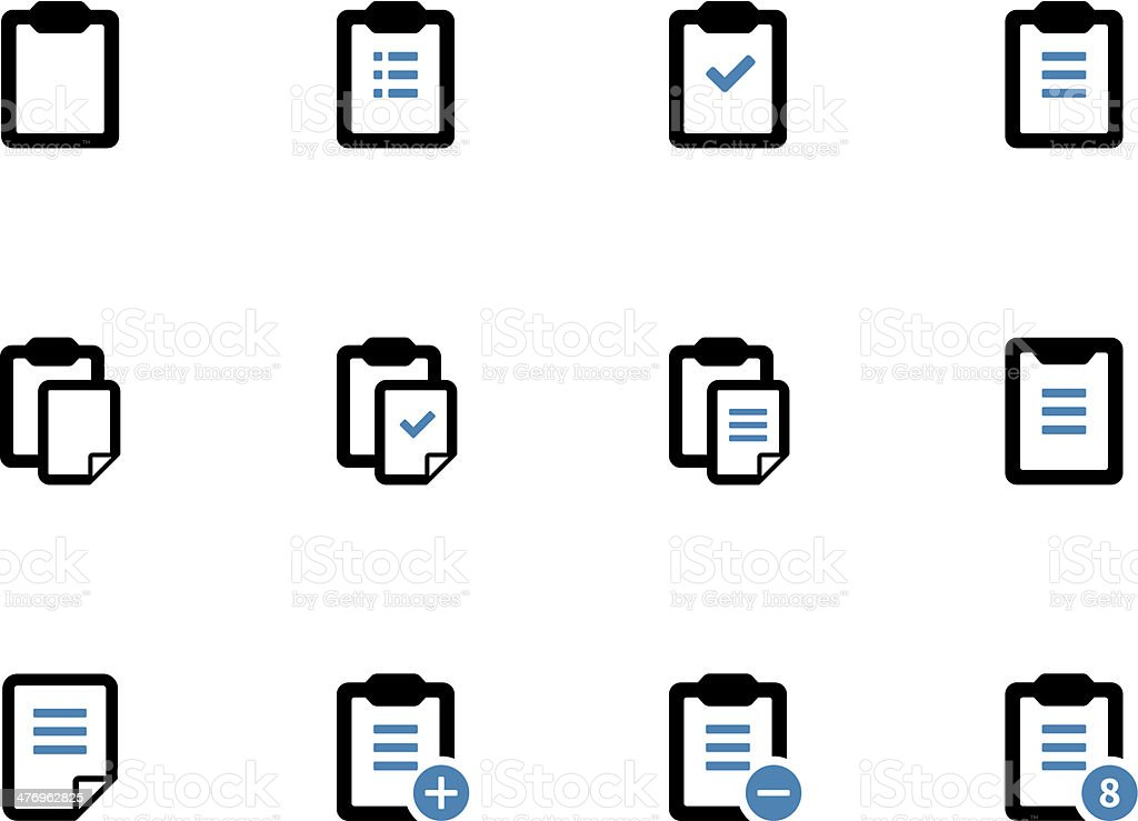 Clipboard duotone icons on white background. vector art illustration