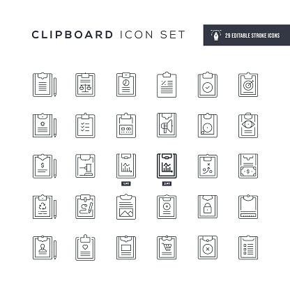 Clipboard Editable Stroke Line Icons