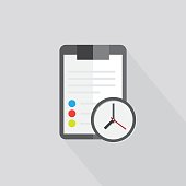 Clipboard folder with blank white sheet of paper with the shadow. Color icon . Sign clock reminder