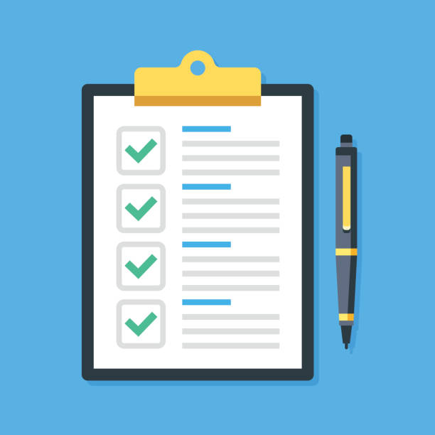 ilustrações de stock, clip art, desenhos animados e ícones de clipboard, green ticks checkmarks, pen. checklist, complete tasks. vector illustration - inteiro