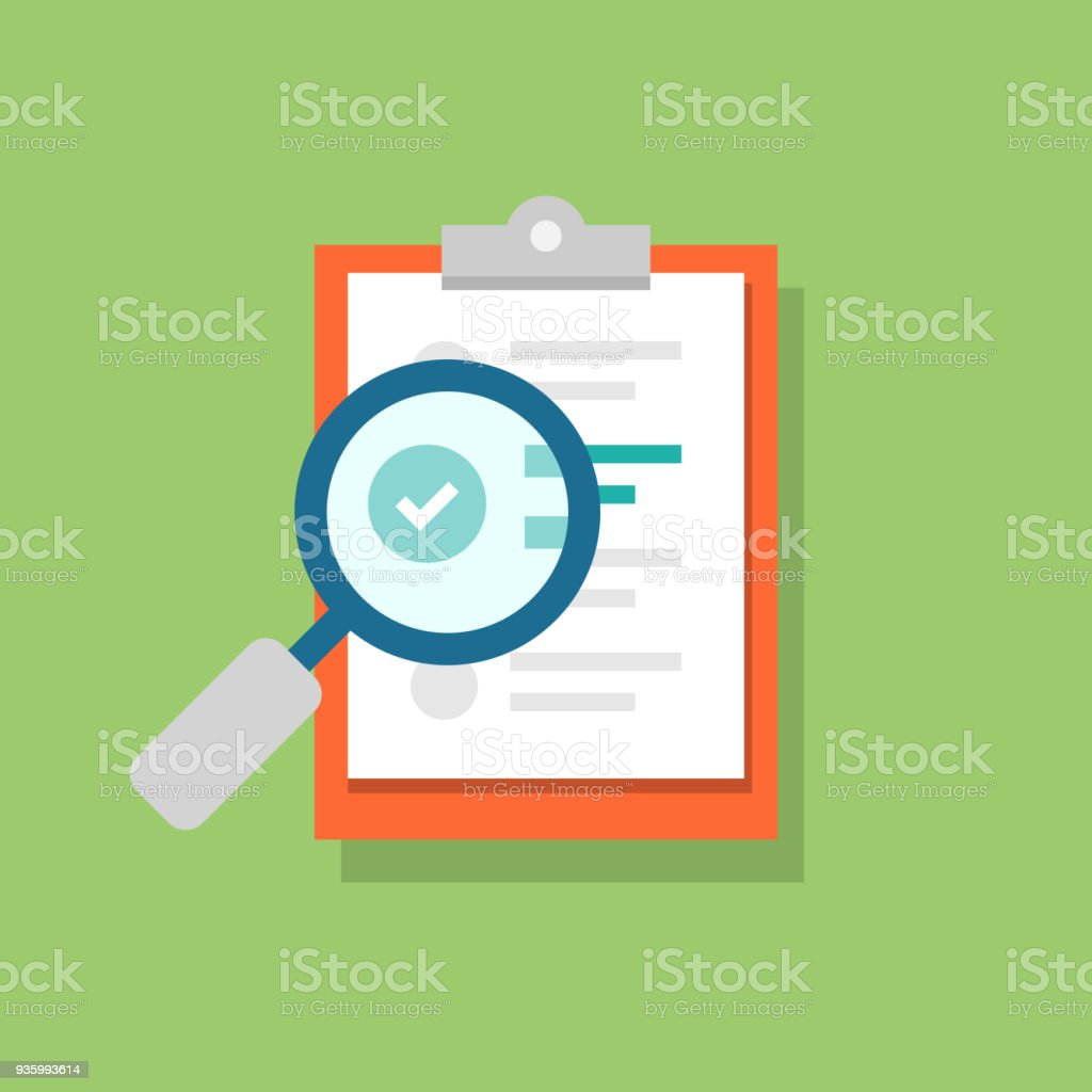 Clipboard icon and magnifying glass. Confirmed or approved document. Flat illustration isolated on color background. vector art illustration
