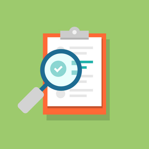 Clipboard icon and magnifying glass. Confirmed or approved document. Flat illustration isolated on color background. Clipboard icon and magnifying glass. Confirmed or approved document. Flat illustration isolated on color background discovery stock illustrations
