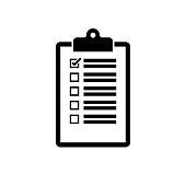 Clipboard icon. Black, minimalist icon isolated on white background.