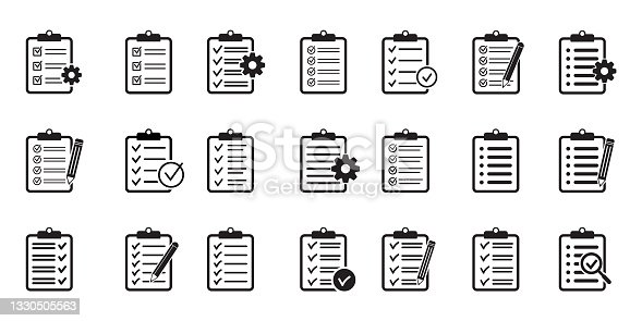 istock Clipboard icon. Checklist with gear, checkmarks, pencil. 1330505563