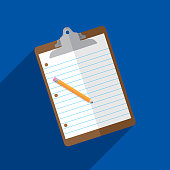 Vector illustration of a clipboard with paper and pencil against a blue background in flat style.
