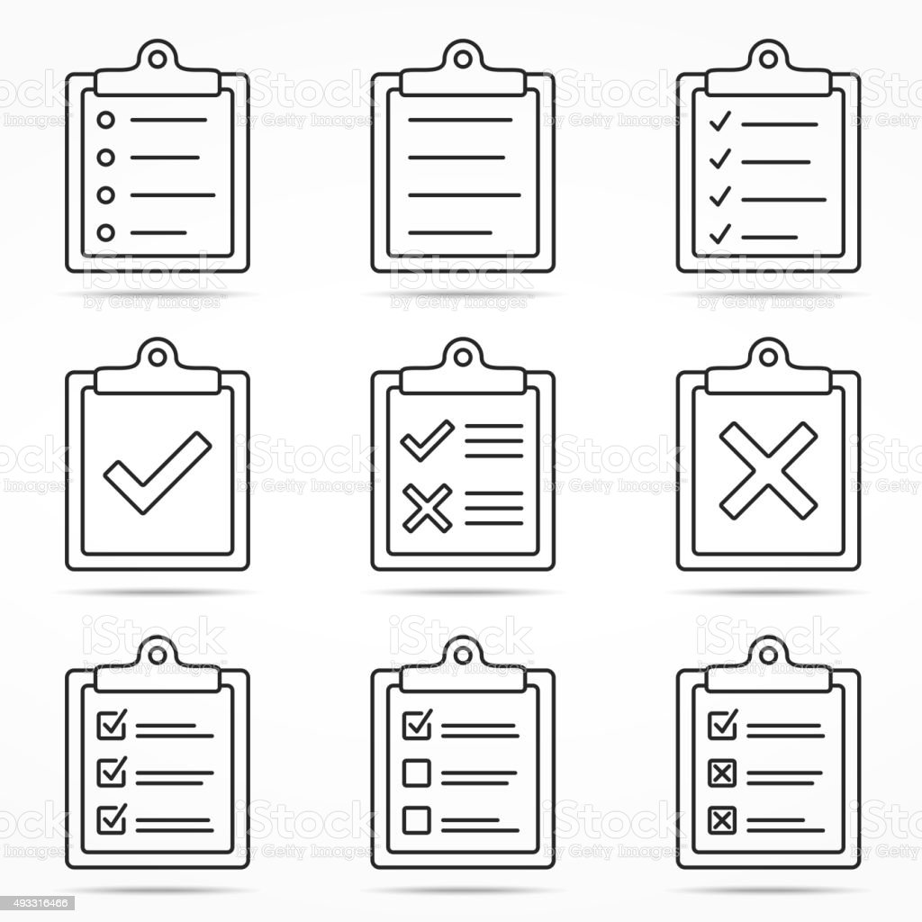 Clipboard Icons vector art illustration