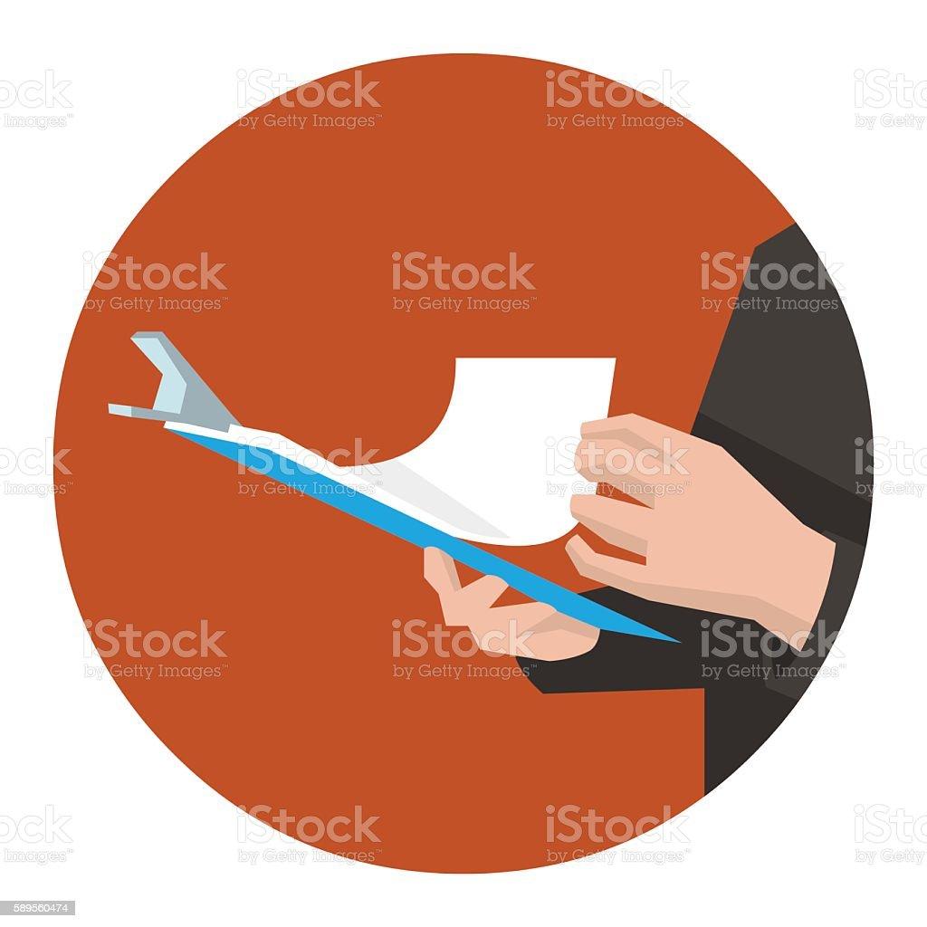 Clipboard in hand vector art illustration
