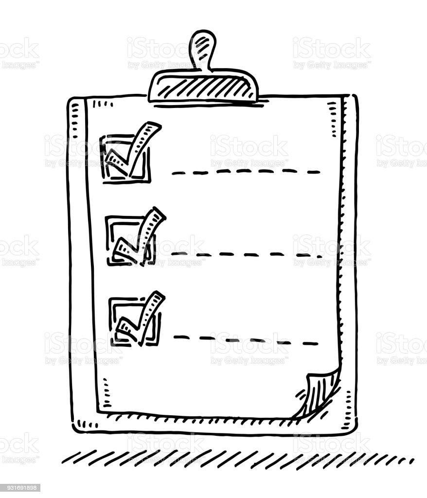 Clipboard List Check Mark Drawing vector art illustration