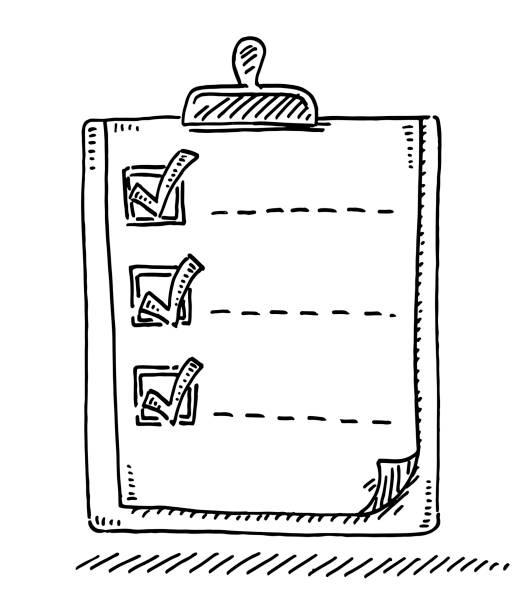 illustrazioni stock, clip art, cartoni animati e icone di tendenza di clipboard list check mark drawing - to do list