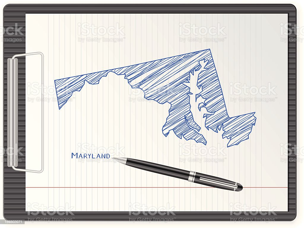 clipboard Maryland map royalty-free stock vector art