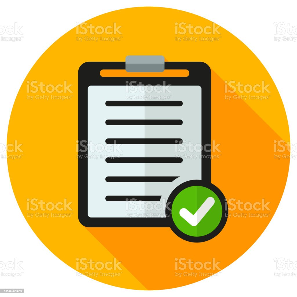 clipboard orange circle flat icon - Royalty-free Business stock vector