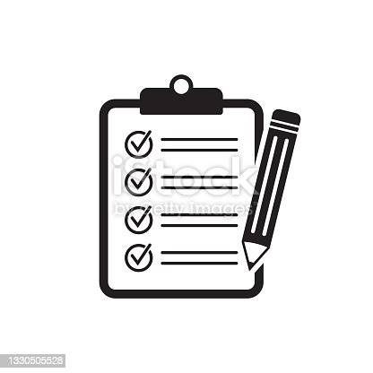 istock Clipboard pencil, Checklist pencil vector icon. Black illustration isolated on white background for graphic and web design. 1330505528