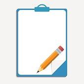Clipboard, pencil