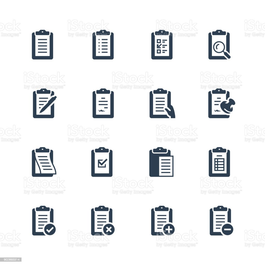 Clipboard vector icon set vector art illustration