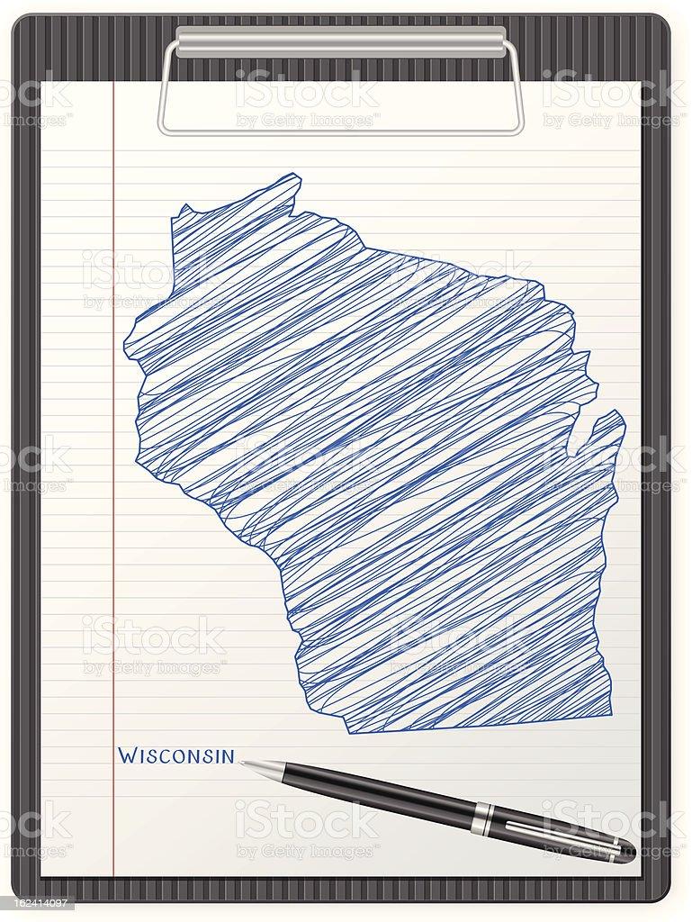 clipboard Wisconsin map royalty-free stock vector art