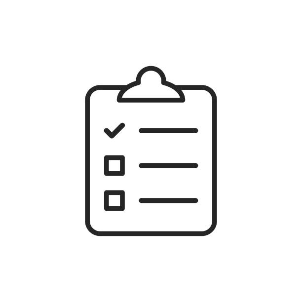 Clipboard witch Checklist, Wishlist Line Icon. Editable Stroke. Pixel Perfect. For Mobile and Web. Outline Icon with Editable Stroke. agenda stock illustrations