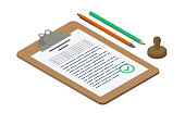 Clipboard with approved document accompanied by pen, pencil and stamp. Isometric vector illustration