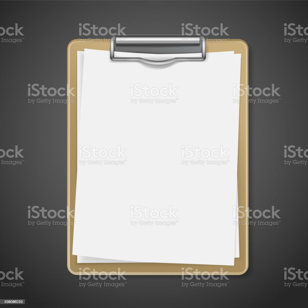 clipboard with blank paper vector art illustration
