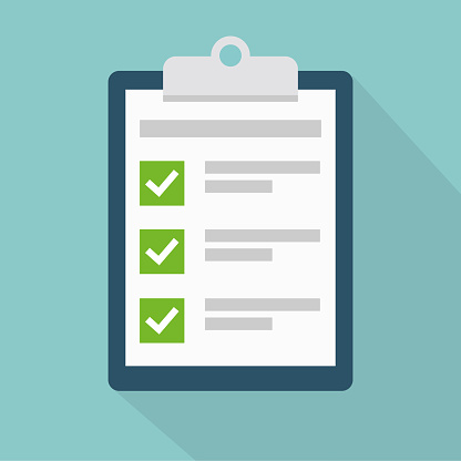 Clipboard with check list flat vector icon with long shadow. To-do list, survey, exam concepts.
