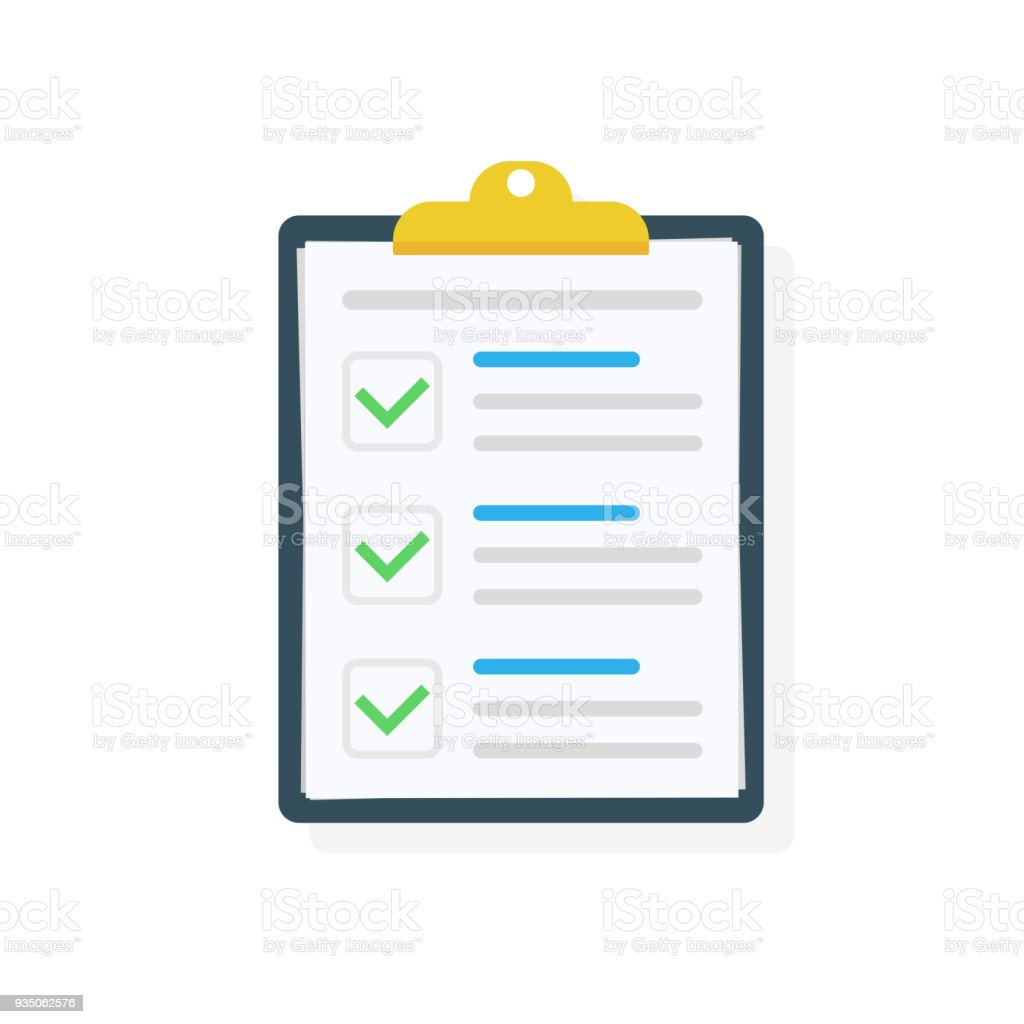 Clipboard with checklist icon. Checklist complete tasks, to-do list, survey, exam concepts. Best quality. Flat illustration of clipboard with checklist icon for web. Vector. vector art illustration