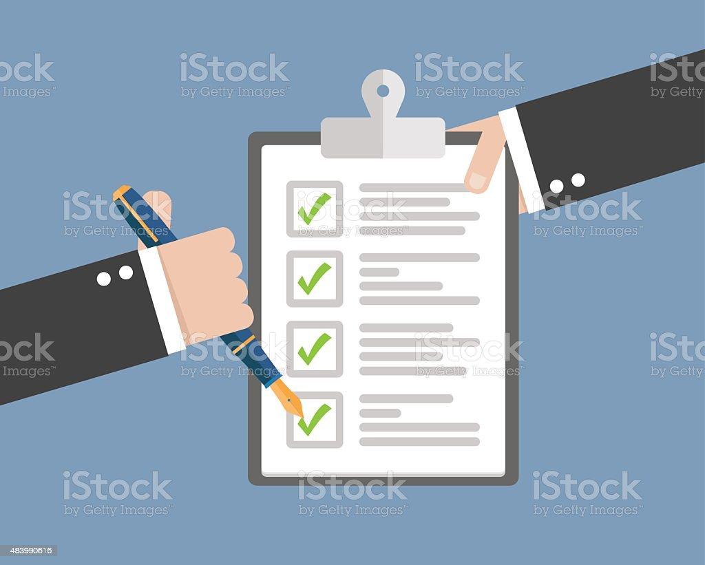Clipboard with checklist vector art illustration