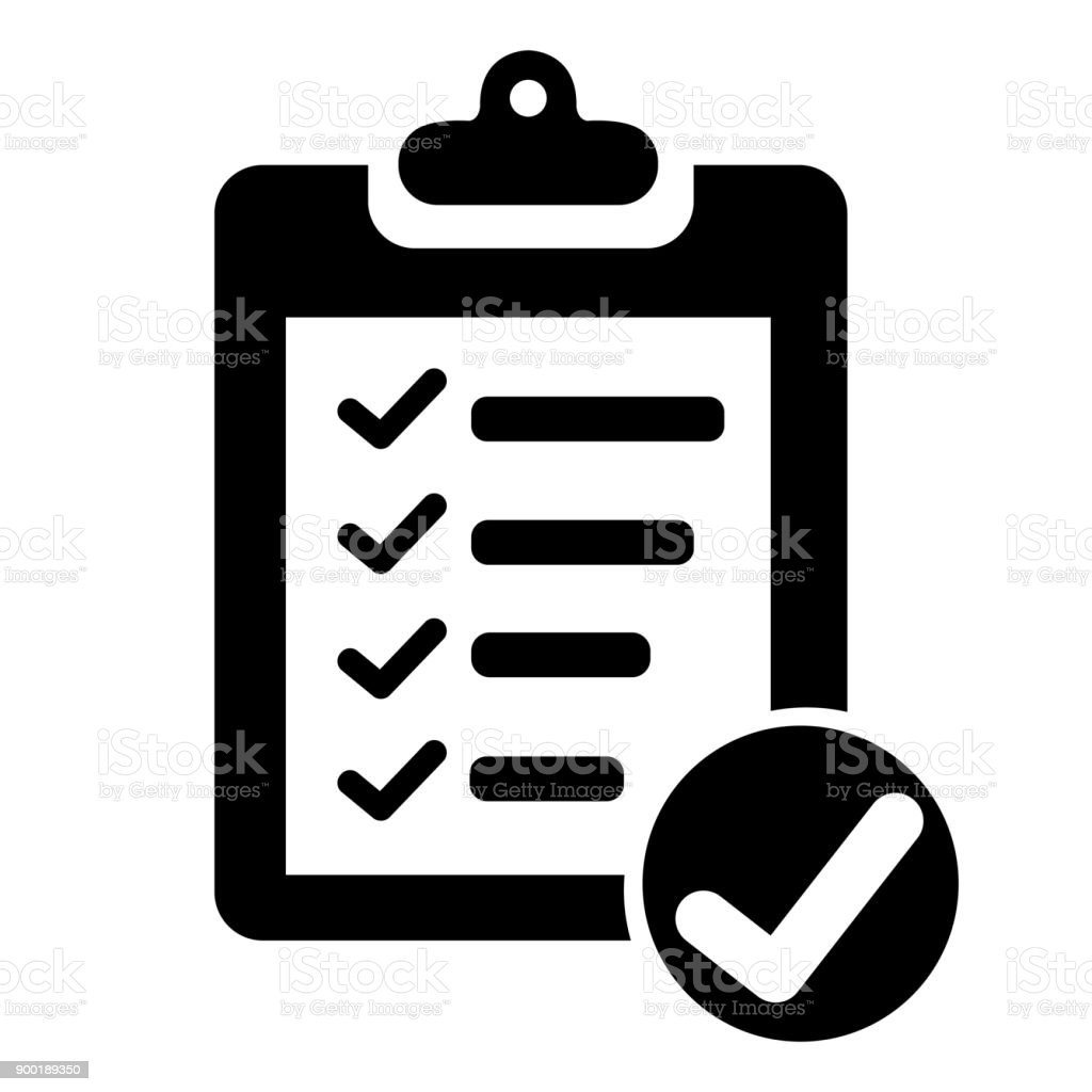 Clipboard with checklist vector art illustration