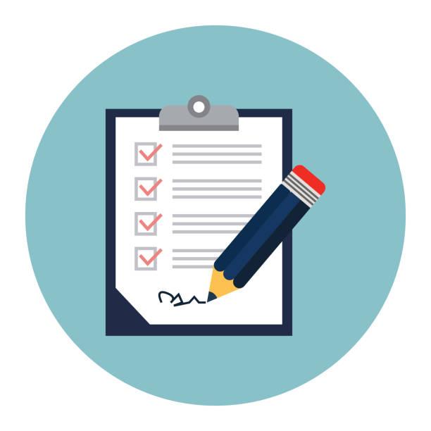 clipboard with checklist clipboard with checklist application form stock illustrations