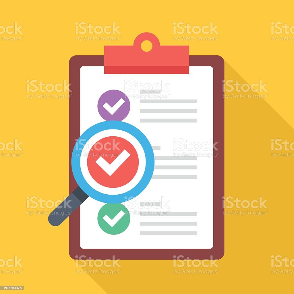Clipboard with colorful checkmarks and magnifying glass. Flat vector illustration