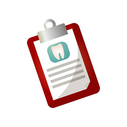 Clipboard with dental medical investigation patient tooth history