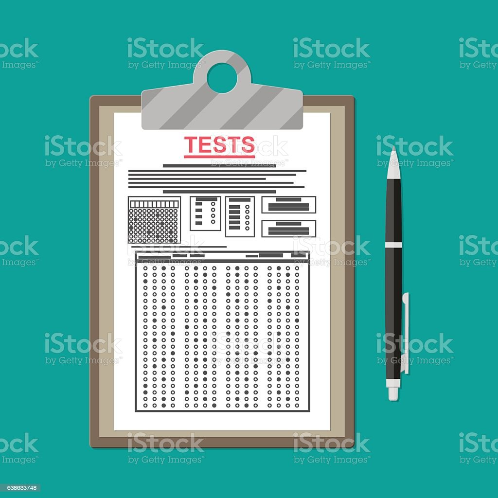 Clipboard with exam test answer sheet and pen vector art illustration