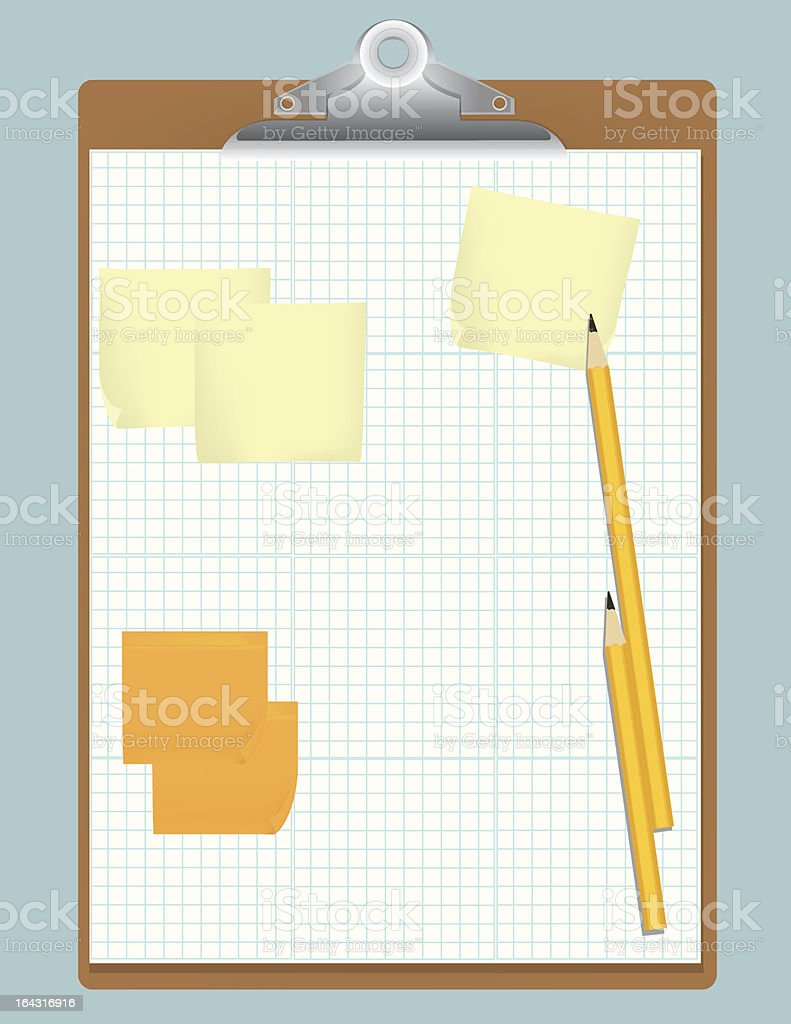 Clipboard with Graph Paper and Notes royalty-free stock vector art