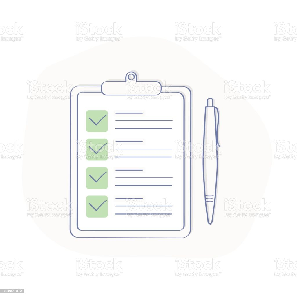 Portapapeles Con Verificación De Garrapatas Verde Y Pluma Concepto ...