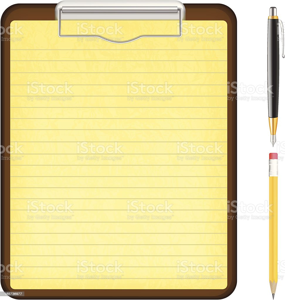 Clipboard with ink pen and pencil royalty-free stock vector art