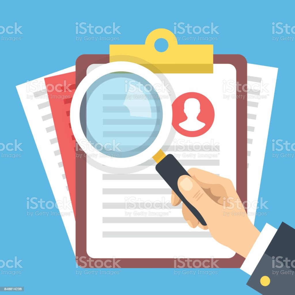 Clipboard with job candidate profile, hand holding magnifying glass. Candidate evaluation form, job application form, human resources, CV verification flat design vector illustration vector art illustration