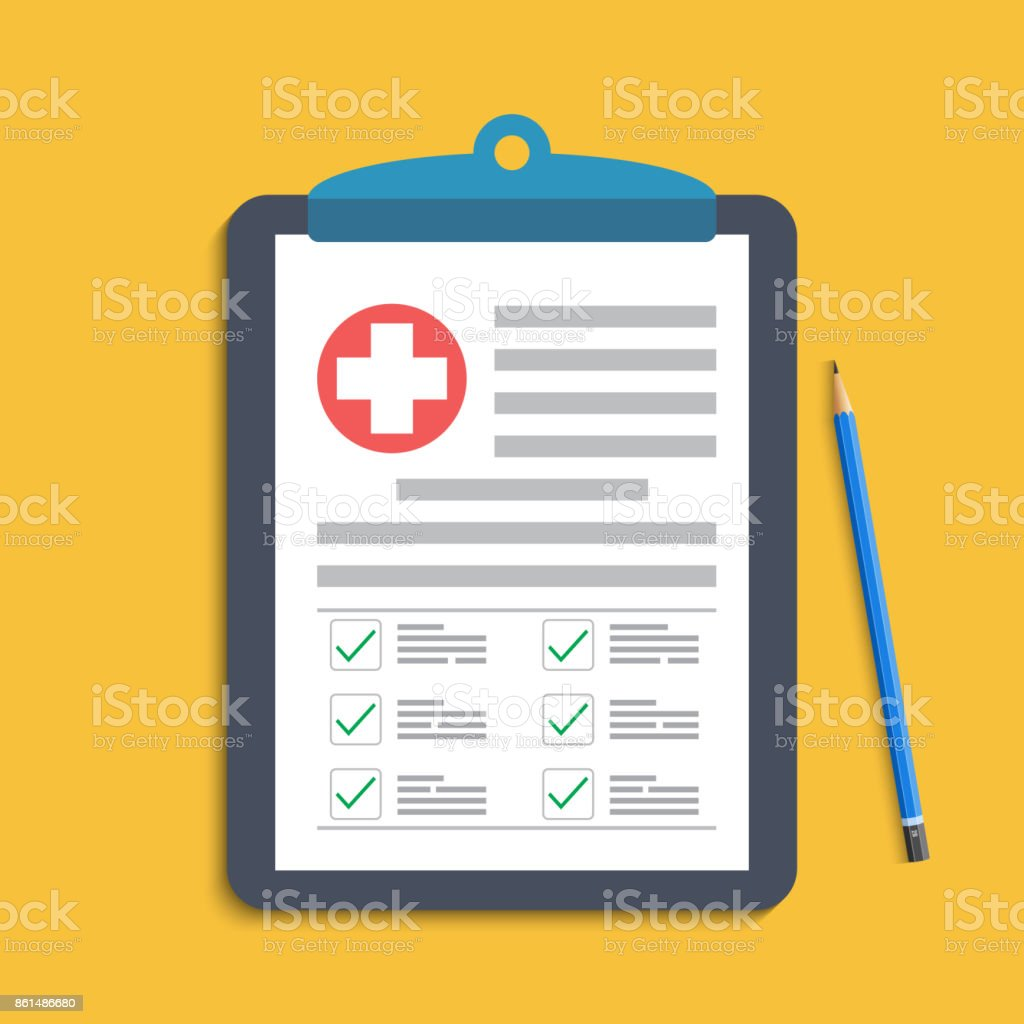 Clipboard with medical cross and pen. Clinical record, prescription, claim, medical check marks report, health insurance concepts. Premium quality. Modern flat design graphic elements. Vector illustration. vector art illustration