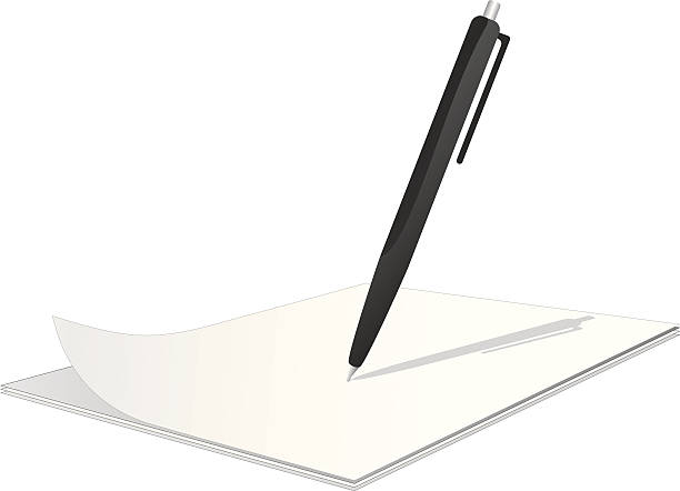 Clipboard with pen on top vector art illustration